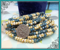 50 Cream & Teal Trica Beads, Czech Glass Picasso Seed Beads, Tri-cut seed beads 4mm x 3mm CZN7