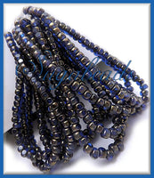 50 Czech Glass Sapphire Blue with Gold finish Trica Beads, Seed Beads 4mm x 3mm, CZN9 - sugabeads