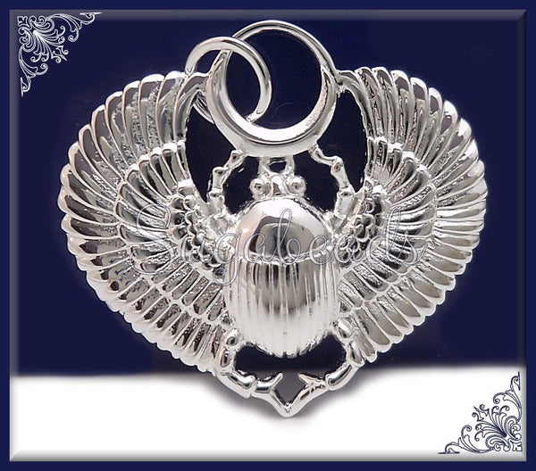 1 Silver Plated Egyptian Scarab Beetle, Silver over Bronze, Winged Egyptian Beetle 23mm ND16