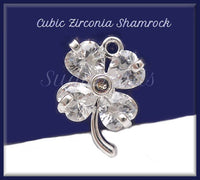 2 Cubic Zirconia Shamrocks, Silver Plated Copper Four Leaf Clover 16mm PS212