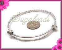 1 Twist Bangle, Stainless Steel Wire Bracelet for Charms 7.5 inch - Expandable Bangle, WB7