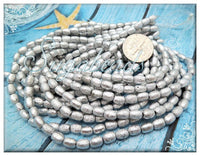 50 Czech Glass Rice Beads 6mm x 4mm - Etched Silver Rice Beads - Silver Beads CZBB10