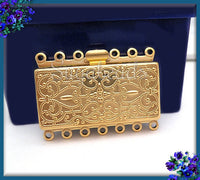 Gold Plated over Brass 7 Strand Box Clasp 36mm x 26mm