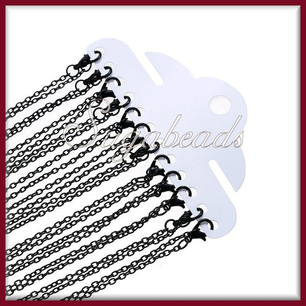 4 Black Finished Chains - 24 inch Chains, Cable Chains with Clasps, Black Chains, CCBK1 - sugabeads