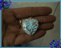 1 Silver Plated Glow in the dark Pendant - Blue Glow in the dark Heart 31mm PS170