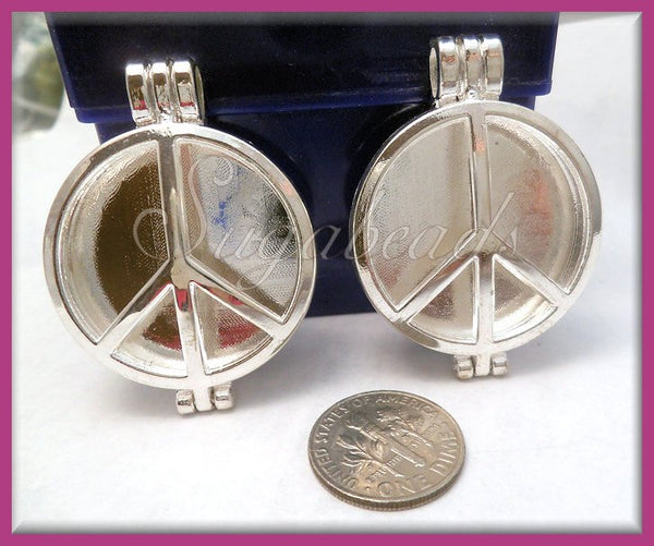 2 Round Silver Plated Flower Lockets with scent pads 44mm PS179