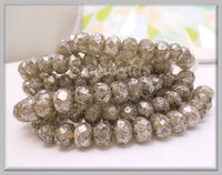 12 Silver Rondelle Beads, 8mm x 6mm Czech Glass Beads CZN14