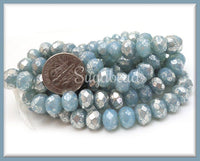 12 Czech Glass Faceted Rondelles 8mm x 6mm w Mercury Finish, Aqua Blue Czech Glass Beads, CZN15