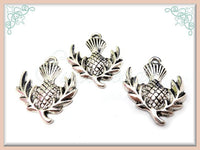 6 Antiqued Silver Scottish Thistle Charms PS30