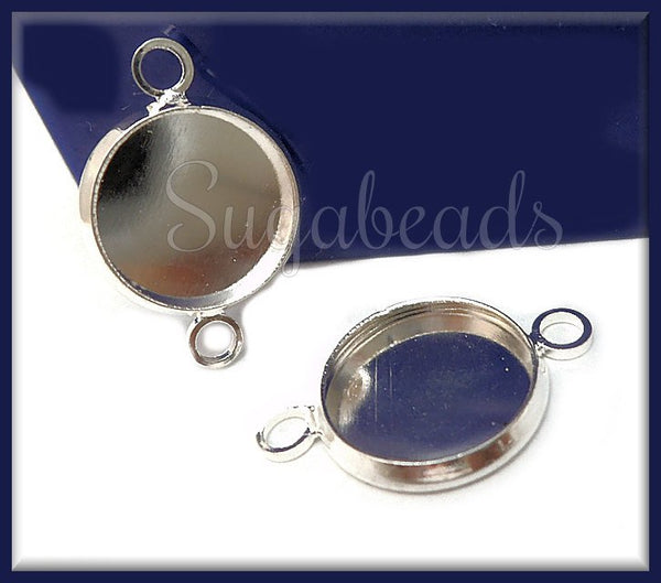6 Silver Cab Connectors, Silver Bezel Cups, Silver over Copper Cabochon Setting, Fits 12mm, PS208