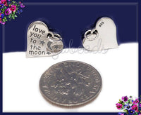 Small Sterling Silver Heart Charm, Love you to the Moon Charm 13mm, ND33