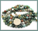 1 Strand Faceted Indian Agate 6mm - Faceted Green Agate 1 Strand, SBGB37