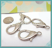 4 Large Decorative Silver Lobster Clasps, 31mm Clasps, Silver Tone Clasps