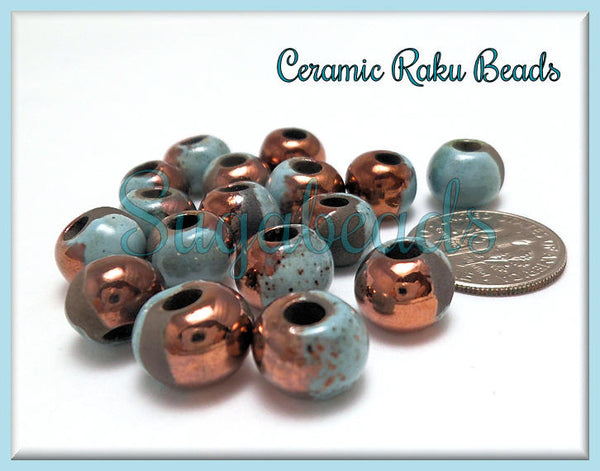 4 Raku Blue & Copper Mykonos Beads, 9mm Round Ceramic Beads, Handmade Beads w Large hole beads