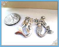 1 Sterling Silver Mermaid with Starfish Pendant ND35