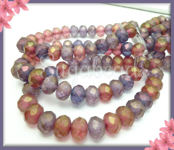 25 Czech Purple Luster Beads, Orchid Mix Czech Glass, Picasso Faceted Beads, 8mm x 6mm CZN40