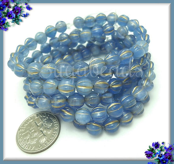 25 Sapphire Blue Czech Glass Melon Beads - Blue Melon Beads with Bronze Wash 6mm - CZN25