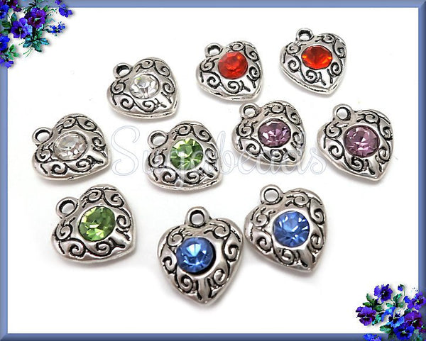 10 Mixed Antiqued Silver Heart Charms with Rhinestone PS79 - sugabeads