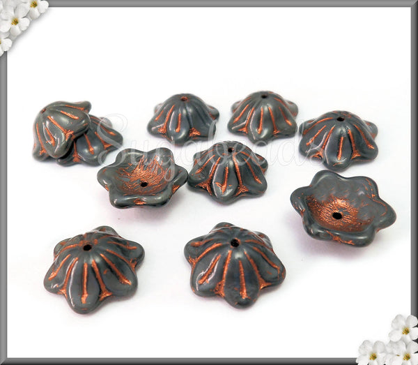 10 Flower Czech Glass Bead Caps, Bell Flower Glass Beads, Gray Silk with Copper Wash, CZN30