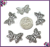 10 Antiqued Silver Filigree Butterfly Connectors PS87