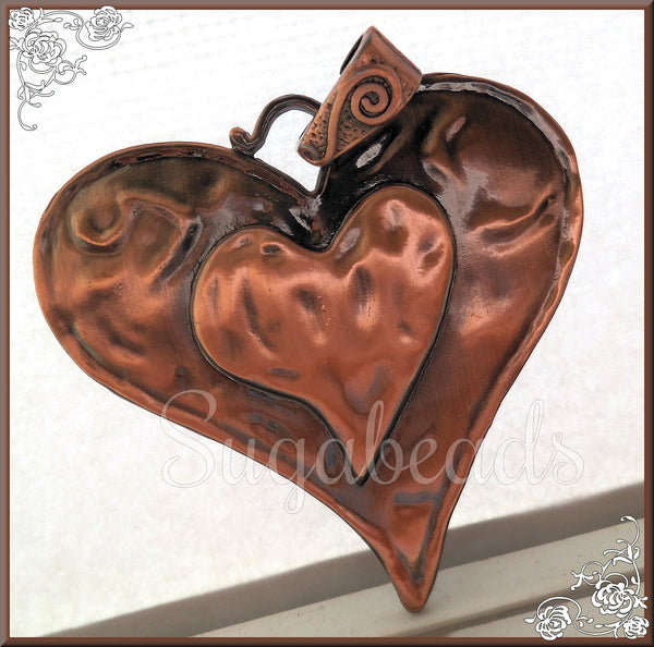 1 Large Antiqued Copper Heart with Bail 74mm