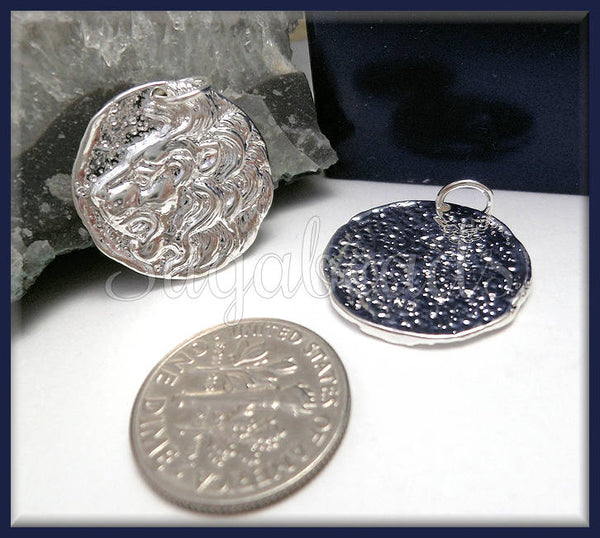 1 Silver Plated over Bronze Lion Coin Charm, Replica Coin Charm, ND32