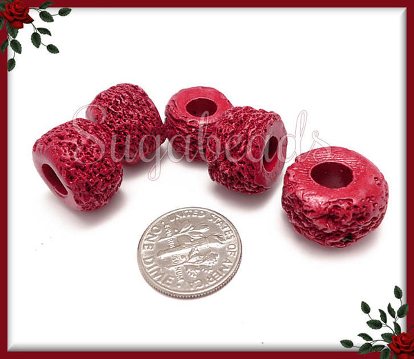2 Mykonos Ceramic Tube Beads - Textured Ceramic Tube Beads - Bordeaux Red Tube Beads