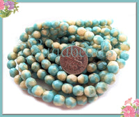 25 Turquoise Bicone Beads, Czech Glass Faceted Beads, Aqua and Cream Czech Beads 6mm CZN37