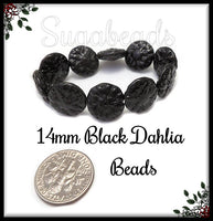 6 Black Czech Glass Flower Beads - Black Dahlia Flowers 14mm CZN22