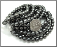 Gunmetal Druk Czech Glass Beads 6mm - Dark Grey Druks - Round Czech Druks CZN28