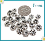 100 Antiqued Silver Daisy Spacers, 6mm Daisy Spacers, DS18