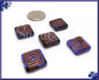 8 Czech Glass Greek Key Beads, Indigo Blue and Jet Black with Bronze Wash 13mm, CZN33