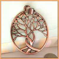 1 Large Copper Tree Pendant, Copper Tone Tree, Large Tree Pendant with Bail, 80mm