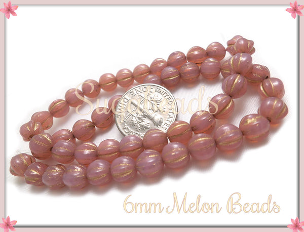 25 Opal Dusty Rose with Gold, Czech Glass Melon Beads, Pink Melon Beads 6mm, CZN47 - sugabeads