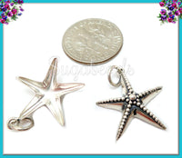 Sterling Silver Starfish Charm, Sterling Beach Charm, 925 Starfish 20mm, ND36
