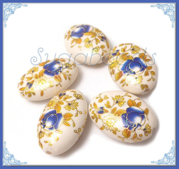 4 Acrylic Japanese Flower Beads - Off White and Blue Acrylic Oval Beads 19mm