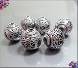 4 Round Silver Beads Heart Design, Filigree Silver Beads, 10mm Silver over Copper round beads PS219