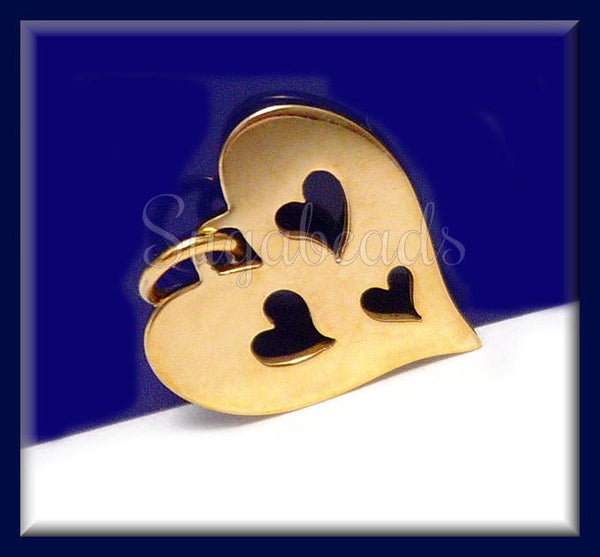 1 x Natural Bronze Small Heart Cut Out Charm - Three Cut Heart Charm 12mm ND40