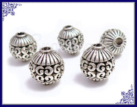 6 Round Antiqued Silver Beads, Filigree Silver Beads, Silver Spacer Beads 10mm PS228