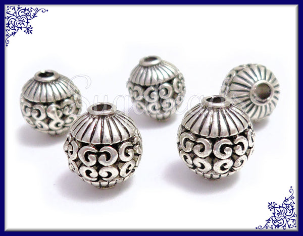 6 Round Antiqued Silver Beads, Filigree Silver Beads, Silver Spacer Beads 10mm PS228 - sugabeads