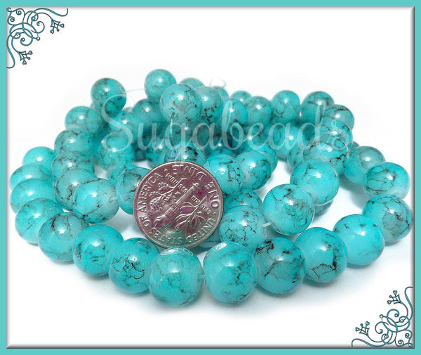 40 Teal Blue Glass Beads, Blue, Black Marbled Glass Beads, 10mm Beads