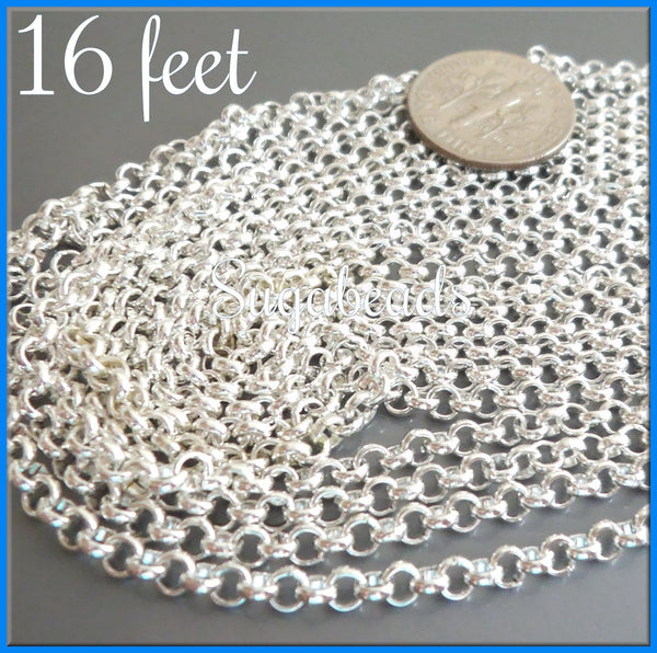 Bulk Bright Silver Rolo Chain - Silver Plated Rollo Chain 16 feet - 5 Meters SBC10