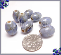 2 Marbled Blue TerraCotta Beads 18mm - Blue Oval Ceramic Beads
