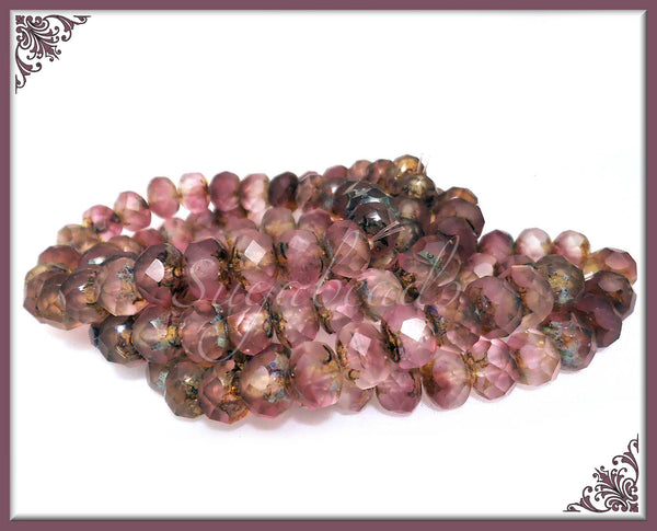 12 Fuchsia Pink and Crystal Mix Czech Glass Beads, Faceted Matte & Picasso Beads, 8mm CZN83