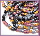 6/0 Purple Aged Picasso Beads, Lavender Mix Czech Glass Bugle Beads,  Seed Beads, CZBB17 - sugabeads
