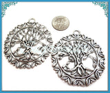 1 Silver Tree Pendant - Round Family Tree Pendant 50mm PS5