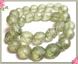 6 Faceted Matte Spring Green Czech Glass Beads, 12mm Faceted Czech Glass CZN74