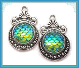 4 Mermaid Scale Resin Charms, Blue Green Mermaid Charms, Silver Dragon Scale Charms 28mm PS223