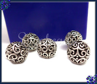 6 Round Antiqued Silver Beads, Filigree Silver Beads, Silver Spacer Beads 11mm PS229