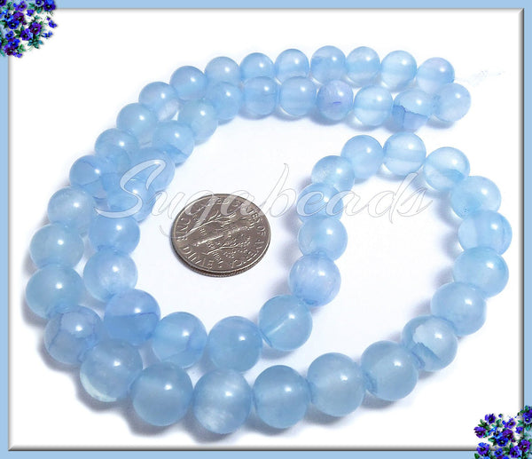 Pretty Sky Blue Dyed Jade Beads, 8mm Candy Jade Beads, 1 Strand, SBGB9